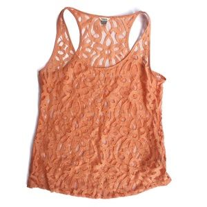 Fossil | coral lace sleeveless blouse / tank S